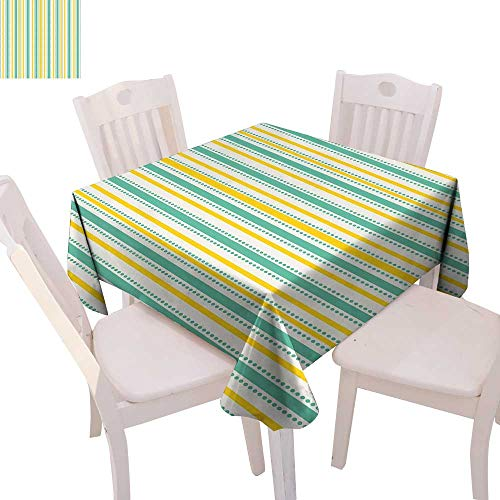 cobeDecor Geometric Printed Tablecloth Summer Season Inspired Exotic Toned Vertical Stripes and Dots Abstract Flannel Tablecloth 50