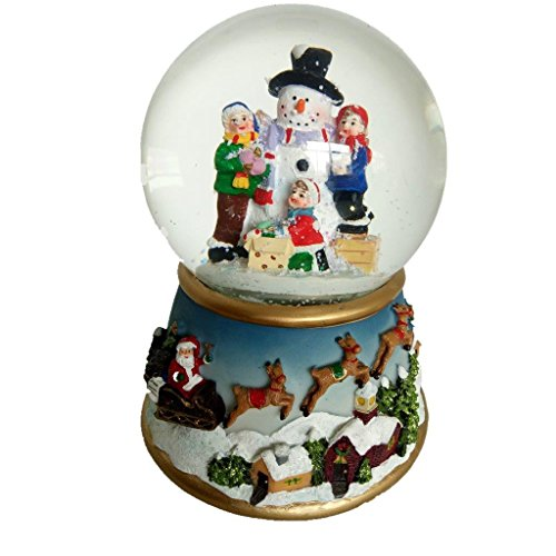 Lightahead Musical Christmas Snowman Polyresin Snow Globe Water Ball LED Light,Flying Snow with 8 melodies (With Blowing Snow Globe Snow)