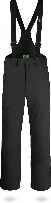 normani Outdoor Sports Herren Winter Softshellhose gefüttert mit abnehmbaren Hosenträgern und 4-Wege-Funktionsstretch [S-4XL]