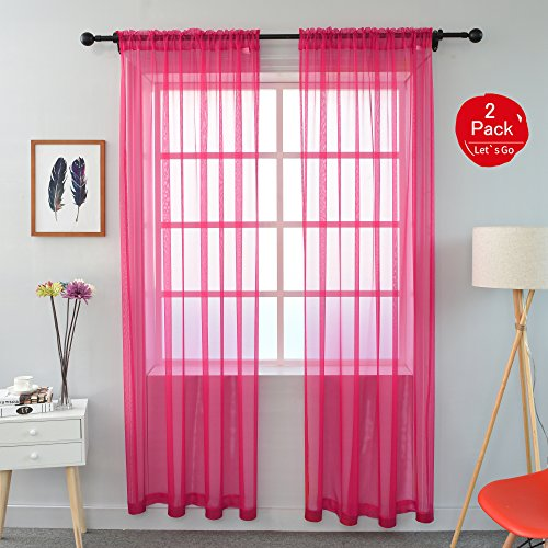 KEQIAOSUOCAI 2 Pieces Solid Color Rod Pocket Sheer Curtains
