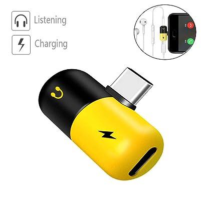 KOBWA 2 en 1 USB-C a 3,5 mm Adaptador de Audio, Tipo C Adaptador de Cargador de Auriculares Compatible con Carga/Audio para Huawei Mate10/P20, Smart ...