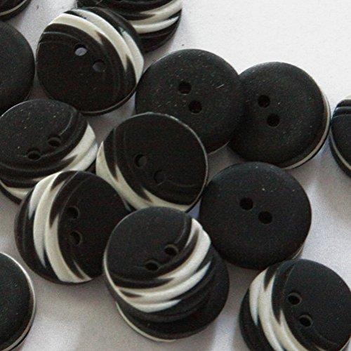 """Fancy & Decorative {15mm w/ 2 Holes} 24 Pack of Medium Size Round """"Flat"""" Sewing & Craft Buttons Made of Acrylic Resin w/ Dark Swirl Carved Texture Layered Matte Design {Black & White Color} (Button White Swirl)"""