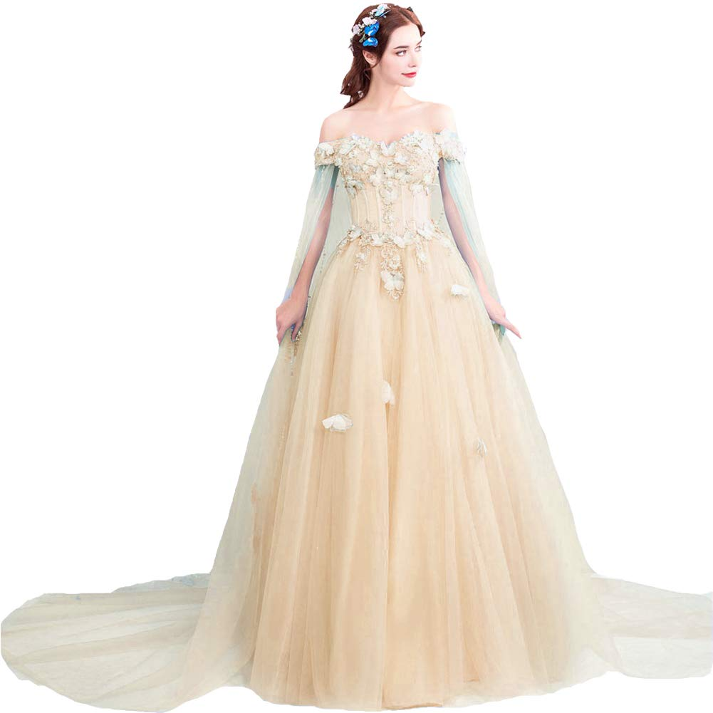 Champagne Kivary Off The Shoulder Butterfly Long Prom Evening Dress Wedding Gown with Cape