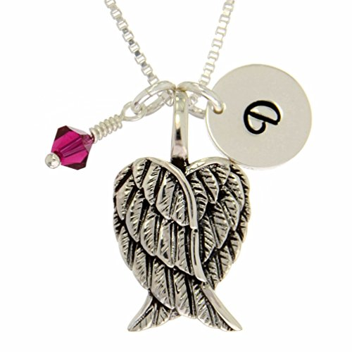 Personalized 925 Sterling Silver Angel Guardian Wings Pendant Initial Birthstone Custom Necklace (18)