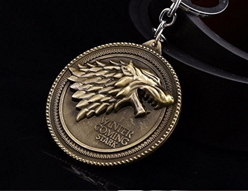 OK-STORE Dire Wolf Logo Keychain Key Chain Winter Is Coming Key Ring for Collectors and Fans