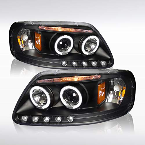 Autozensation For Ford F150 Expedition Black Clear Halo Rims Projector Headlights