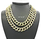 Shiny Jewelers USA Mens Iced Out Hip Hop Gold tone CZ Miami Cuban Link Chain Choker Necklace (16'' & 18'')