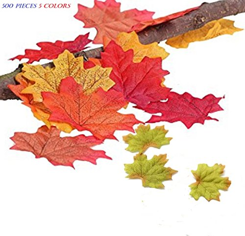 Toowood Artificial Maple Leaves 500pcs, Autumn Fall Leaves Dynamic Colors Assorted for Wedding Festival House Photography Background Decorations (MapleLeaf,500pcs,5colors) -