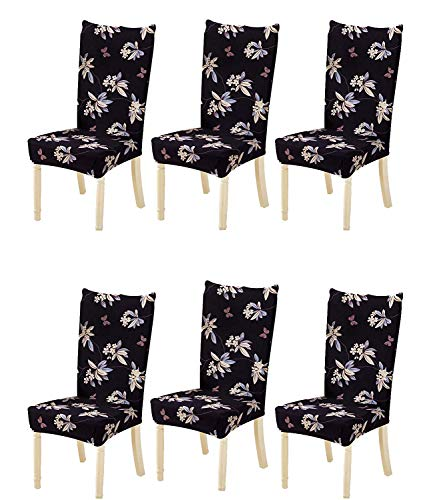 House of Quirk Elastic Chair Cover Stretch Removable Washable Short Dining Chair Cover Protector Seat Slipcover – Black…