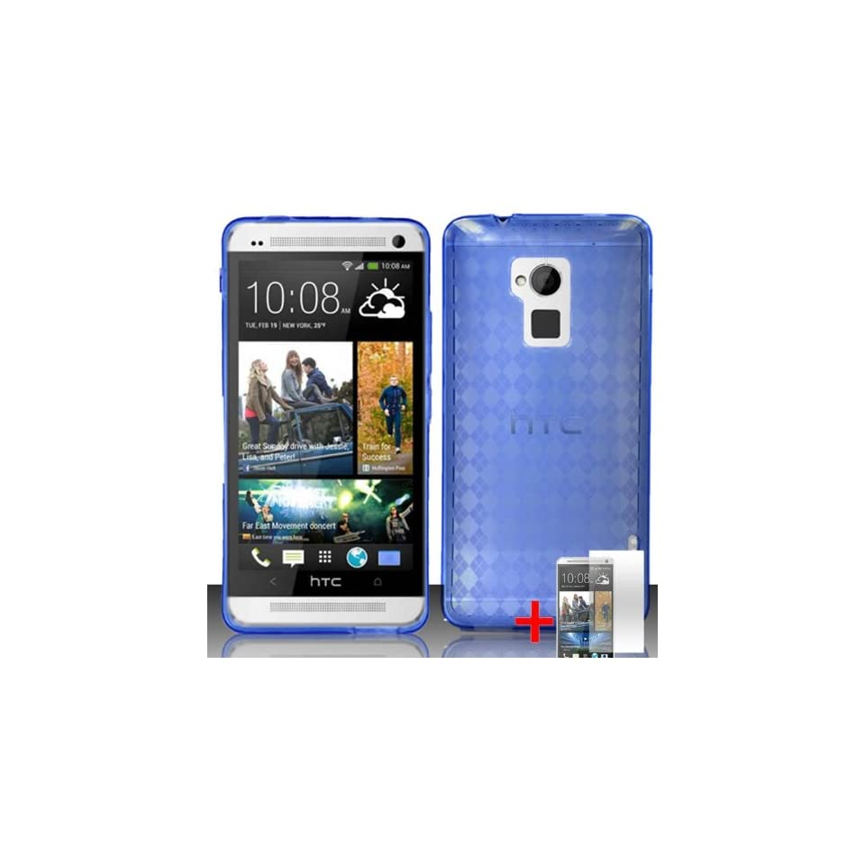 HTC ONE MAX BLUE PLAID TPU RUBBER COVER SOFT GEL CASE + FREE SCREEN PROTECTOR from [ACCESSORY ARENA]