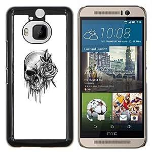 Caucho caso de Shell duro de la cubierta de accesorios de protección BY RAYDREAMMM - HTC One M9Plus M9+ M9 Plus - cráneo subió rodillo de tinta de death metal de la roca