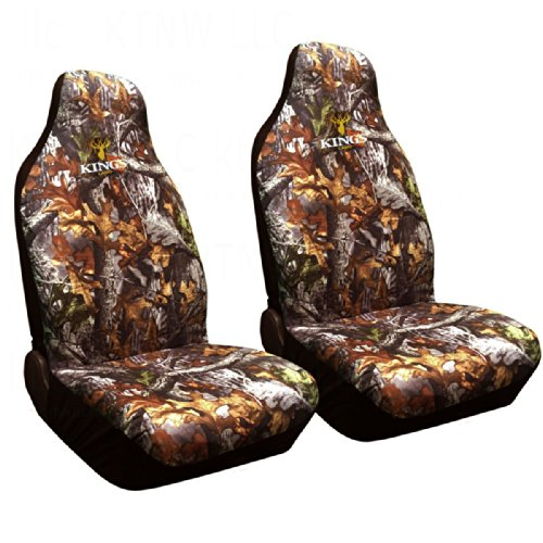 Woodland Camouflage Accents - Two Officially Licensed Kings Camo Universal Fit Highback Seat Covers - Woodland Shadow