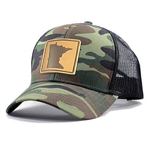 Homeland Tees Men's Minnesota Leather Patch Army Camo Trucker Hat - Army Camo