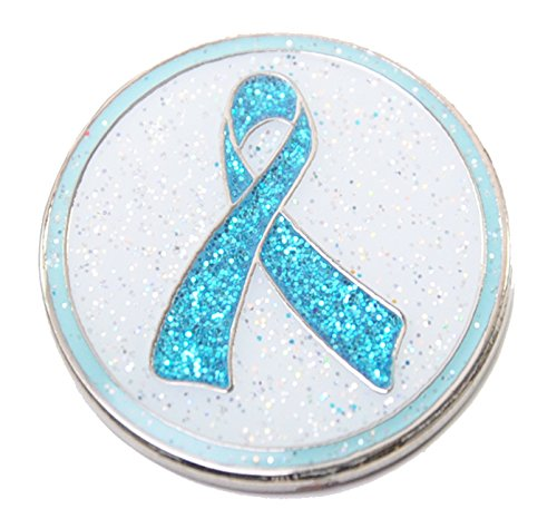 (Navika Glitzy Teal Ribbon Ovarian Cancer Ball Marker with Magnetic Hat Clip)