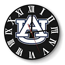 Wall Clock Creative Auburn-Tigers-Basketball-Logo-White- Style Silent Digital Clock for Living Room