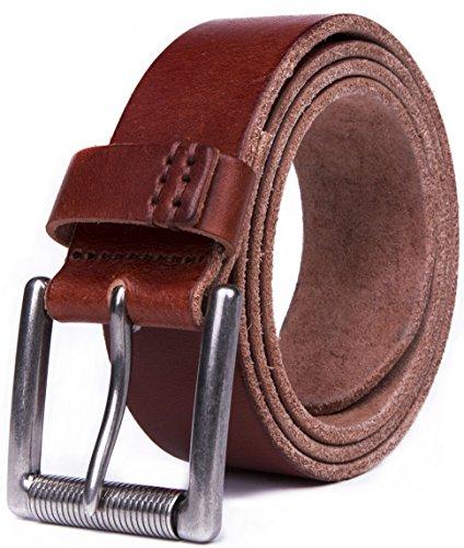 100% Handmade Italian Leather - Fabio Valenti Men's Full Grain 100% Italian Leather Belt - Handmade Luxury - (40, Light Brown #4)