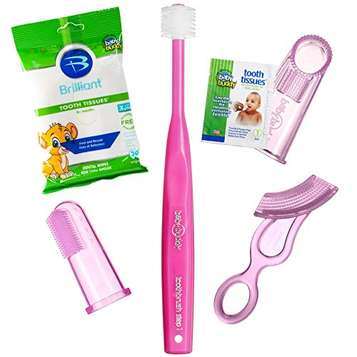 Brilliant Infant Oral Care Set by Baby Buddy, Pink