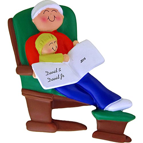 Daddy or Grandpa and Child on Glider Personalized Christmas Ornament - Handpainted Resin - 4.5