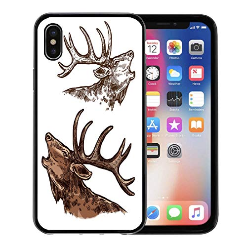 (Emvency Phone Case for Apple iPhone Xs Case/iPhone X Case,Elk Moose Head and Antlers Sketch Wild Forest Stag Soft Rubber Border Decorative, Black)