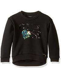 Little Girls Long Sleeve Scuba Knit Sequin Logo Top