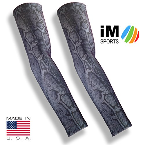- iM Sports SKINGUARDS Skin Protection Full Arm Sleeves + Protects Aging or Thin Skin + UV Protection - Unisex + Made in USA - Snake Grey - X-Large/XX-Large - Pair