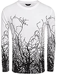 Men's Fashion Long Sleeve Shirt Tree Shadow Printed Graphic T-Shirt