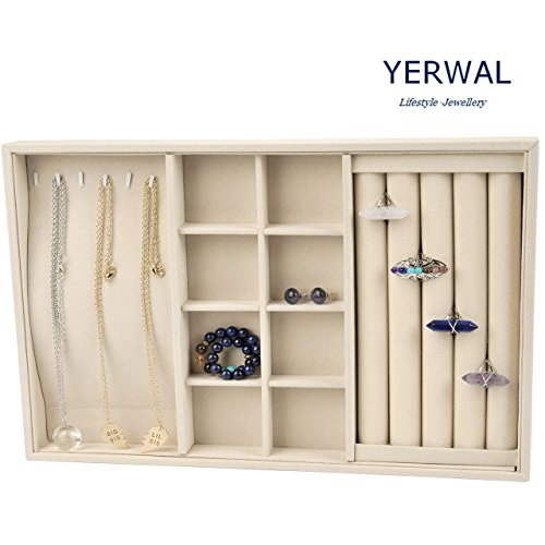 Jewelry Organizers Drawers (Jewelry Tray, Yerwal Claimond Veins Stackable Multi functional Jewelry Tray holder Showcase Display Organizer for Rings Necklaces Earrings (Rings Necklaces Earrings Tray Apricot))