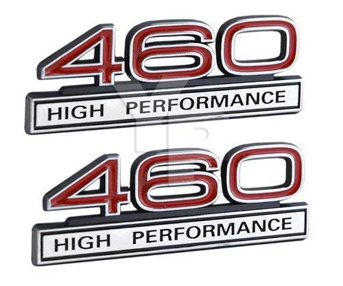 460 7.5 Liter High Performance Engine Emblems in Chrome & Red Trim - 4