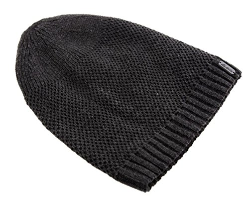 [FHSom Men's Woolen Knit Dark Grey Casual Warm Soft Slouchy Beanies Skull Snow Cap Hat] (Pork Pie Hat For Sale)