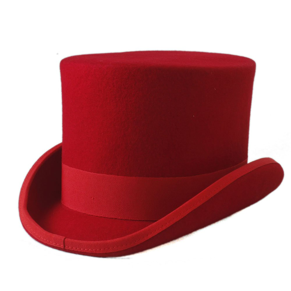ZLQ Steampunk Mad Hatter Top Hat Victorian Vintage Traditional Wool Fedoras Hat Cylinder Hat Chimney Pot Hat Top Hat (Color : Red, Size : 57cm)
