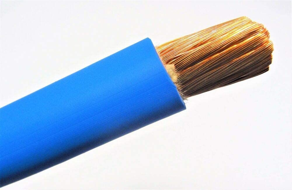 15/' 4 AWG GAUGE WELDING CABLE BLUE COPPER BATTERY LEADS MADE IN USA