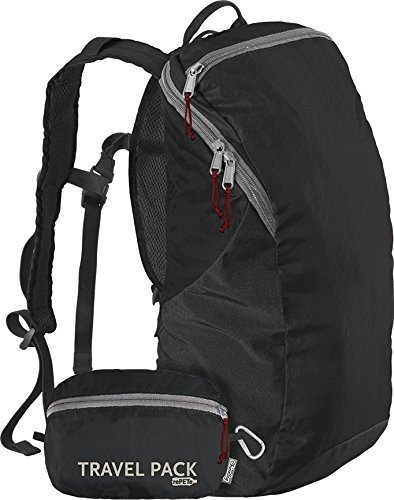(ChicoBag Travel Pack rePETe Compact Recycled Backpack - Jet Black)