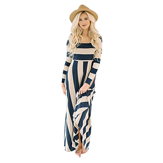 fed3b7e9a4b Amazon.com  Sinfu Women Long Sleeve Striped Maxi Dress Evening Party Long  Dress  Clothing