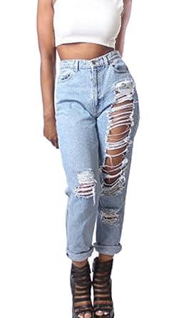 mehr Fotos offizieller Preis Schnäppchen für Mode iRachel Damen Jeanshose Boyfriend Hose Rissen Destroyed Used look Skinny  Jeans