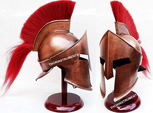 Medieval King Leonidas Armor Spartan 300 Roman Helmet on Wooden Stand Copper ()
