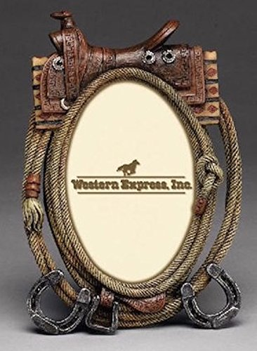 Western Saddle Polyresin Picture Frame fits 4