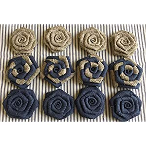 Set of 12 Burlap Flowers Navy and Natural Rustic Wedding Cake Topper Baby Boy Shower Party Reception Table 12