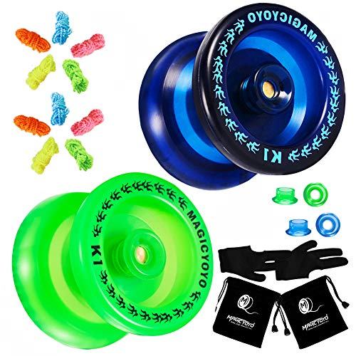 MAGICYOYO Pack of 2 Yoyos, K1 Responsive YoYos with 2 Yoyo Sacks + 10 Strings and 2 Yo-Yo Gloves Gift ( Dark Blue Yoyo& Green Yoyo)
