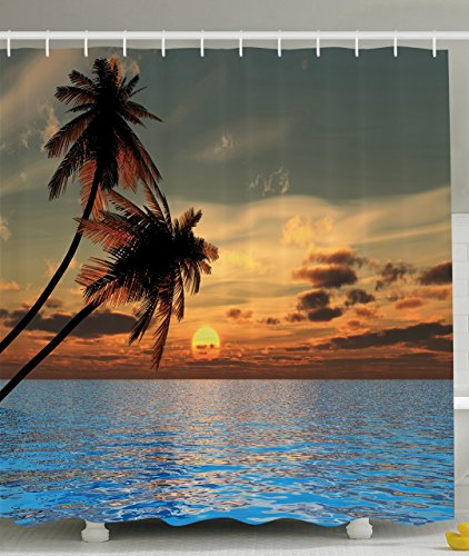 Ambesonne Tropical Palm Trees Decor Collection, World Peace Sunset Pictures Prints of Coconuts Aqua Ocean, Polyester Fabric Bathroom Shower Curtain Set with Hooks, Brown Blue