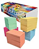 DEBRADALE DESIGNS Small Blank Study Flash Cards - 3.5'' x 2'' - 5 Pastel Colors - Box of 1,100 - Standard 110# Index Card Stock - Storage Travel Box With Attached Lid & Velcro Closure