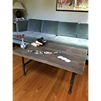 Driftwood Coffee Table Modern Industrial Rustic Slab Salvaged Wood Coffee Table with Steel Pipe Legs