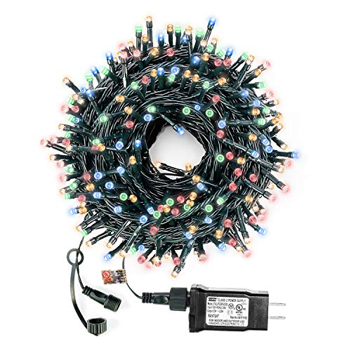 Decute Multi-Color Christmas String Lights Waterproof 300LED 105FT UL Certified with End-to-End Plug 8 Modes, Outdoor Indoor Starry Fairy Lights for Christmas Tree Patio Garden Wedding Party Decor from Decute