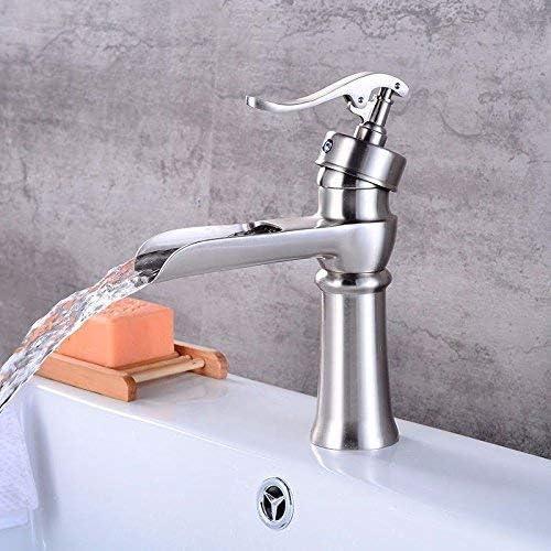 DXX-HR バスルームのシンクのためのバスルームのシンクミキサータップ現代ブラシ滝温水と冷水セラミック1台のホールシングルハンドルの蛇口
