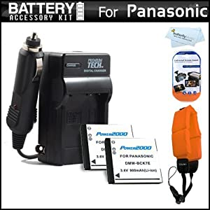 2 Pack Battery And Charger Kit For Panasonic Lumix DMC-TS25, DMC-TS20, DMC-TS30 WaterProof Digital Camera Includes 2 Extended Replacement (900Mah) DMW-BCK7 Batteries + Ac/Dc Rapid Travel Charger + Floating Strap