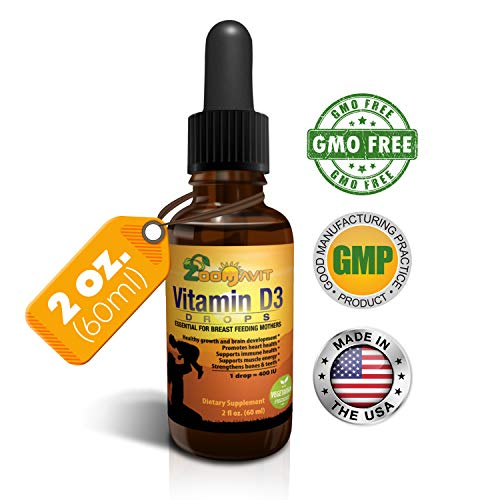 Vitamin D Drops for Infants - Liquid Vitamin D3 for Adults, Kids, Baby - 400iu Per Drop - 2fl. oz 2140 doses (Best Vitamins For Newborn Baby)