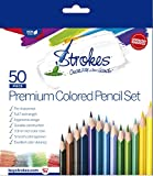 Strokes Art 50 Piece Artist Grade Premium Quality Colored Pencil Set Pop Colors, 7 Inches Long, Sharpened, 3.3 Smooth Lead (Office Product)