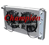 """3 Row All Aluminum Replacement Radiator AND 12"""" Reversible Dual Fans for Multiple GM Applications and Models: Buick, Apollo, Century, LeSabre,Regal, Skylark, Seville, Blazer/Jimmy, Camaro, Caprice, Plymouth, Oldsmobile, Cadillac, and More - Manufactured by Champion Cooling Systems, Part Number: 162FAN"""