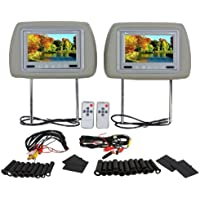 Pair of Brand New Tview T721pl-gray Car Headrests with 7 Tft-lcd Monitors Pre-installed + Dual Sensor Ir Transmitter Built in 2 Free Remotes + Wiring Included **16:9 Wide Screen Mobile Theater Display**
