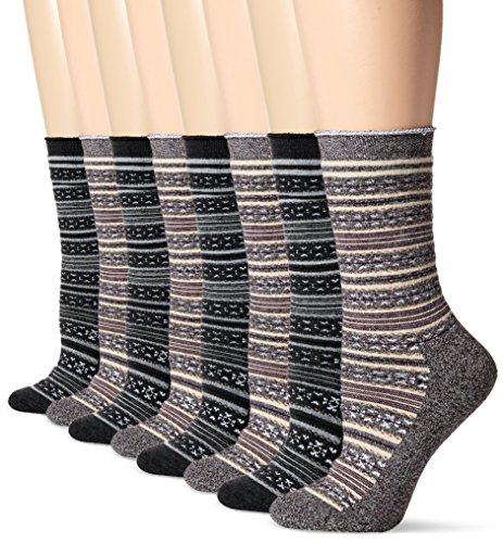 Champion Women's 4-Pack Full Cushion Fairisle Outdoor Crew, Brown Assorted, 5-9