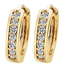 24K Gold Cubic Zirconia Round Hoop Earrings Filled Clear Design Ladies Womens Fashion Earrings for Girls Zircon A2121